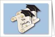 Graduation Congratulations for Twins, Two Diplomas and Mortarboards card