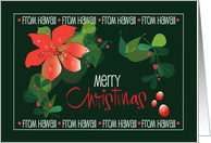 Hand Lettered Christmas from Hawaii, with Red Christmas Berries card