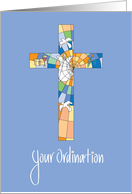 Ordination Congratulations, Stained Glass Cross card