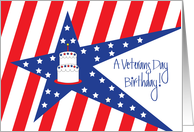 Birthday on Veterans Day, Stars, Stripes and Cake card