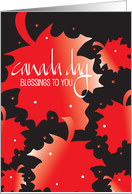 Hand Lettered Happy Canada Day, with Red & White Maple Leaves card
