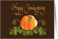 Happy Canadian Thanksgiving, with Pumpkin and Vines card