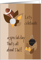 Father's Day Party Invitation, Leaves, Football, Grill and Golf ball card