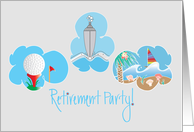 Invitation for Retirement Party, Golf, Cruise Ship and Sailboat card