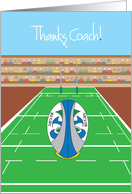 Rugby Thanks Coach Card, Rugby Ball and Goal Post card
