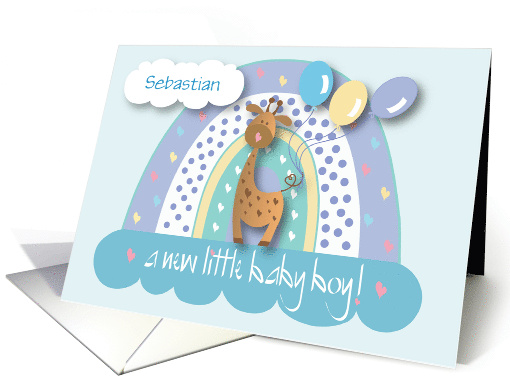Announcement of New Baby Son, with Crib, Toys and Quilt card (1114082)