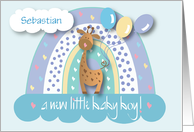 Announcement of New Baby Son, with Crib, Toys and Quilt card