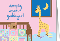 Announcement of New Baby Granddaughter, with Crib, Toys and Quilt card
