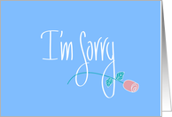 Apology in Handlettering, Long Stem Rose on Blue to say I'm Sorry card