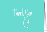 Hand Lettered Thank You with Bright Colored Flowers on Mint Green card