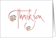 Hand Lettered Thank You with Brightly Colored Flowers on Salmon card