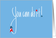 Hand Lettered You can do it, red, white and blue stars card