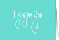 I forgive you, Handlettering on Mint Green with Colorful Flowers card