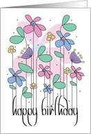 Happy Birthday on Mint Green with Colorful Flowers card