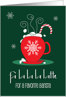 Christmas to Favorite Barista, Red Coffee Cup with White Snowflake card