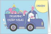 Easter for Grandson, White Bunny in Truck Delivering Decorated Eggs card