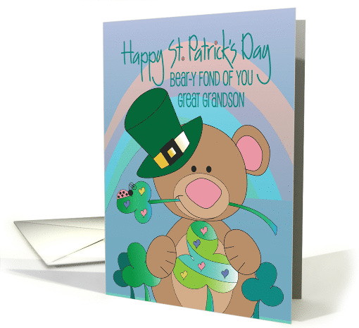 Great Grandson St. Patrick's Day, Bird with Shamrock Display card