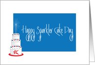 Happy Birthday on the 4th, Sparkler Cake Day with Sparklers card