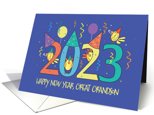 New Year's 2021 for Great Grandson, Yellow Birds in Party Hats card