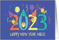 New Year's 2021 for Niece, Birds Celebrating with Party Hats card