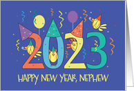 New Year's 2021 for Nephew, Birds Celebrating with Party Hats card