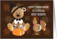 Happy Thanksgiving for Great Grandpa, Colorful Autumn Leaves card
