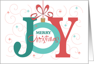 Christmas Joy, Letters Ornamented with Holly and Poinsettia card