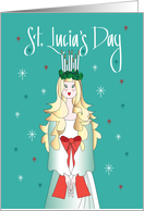 St. Lucia's Day, Halo of Lighted Candles and Hand Lettering card