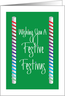 Festive Festivus with Rainbow Ribbon Wrapped Poles card