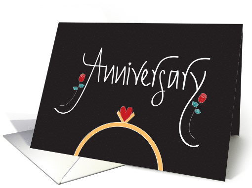 Hand Lettered Wedding Anniversary, Wedding Ring with Heart card
