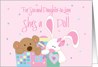 New Baby for Son and Daughter-in-Law, She's a Doll with Toybox card