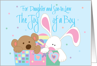 New Baby for Daughter and Son in Law, Joy of a Boy card
