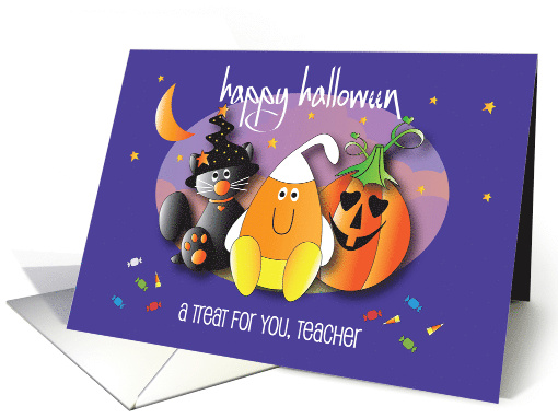Happy Halloween to Teacher, Jack o' Lantern and Fun Lettering card
