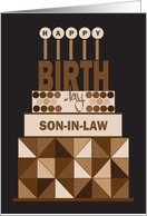 Hand Lettered Birthday for Son-in-Law, Stacked Brown Birthday Cake card