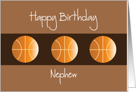 Birthday for Nephew, Trio of Basketballs on Brown card
