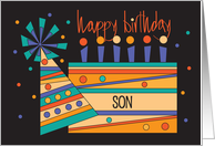Birthday for Son, Trio of Footballs on Brown and Green card