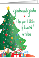 Christmas for Grandma and Grandpa, Decorated Tree and Gifts card