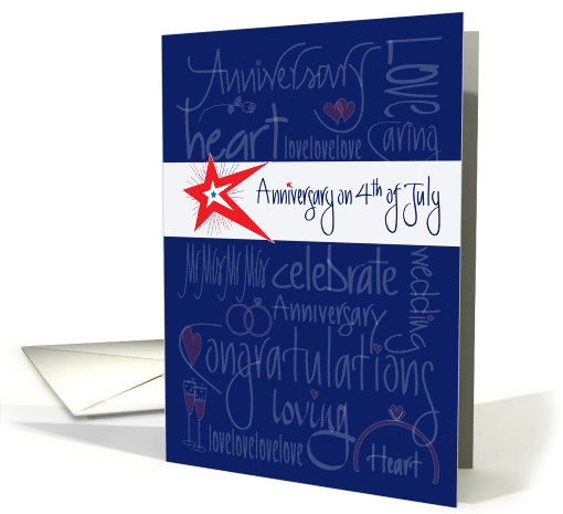 Anniversary on 4th of July, Stars, Fireworks with Hand Lettering card