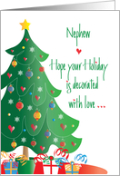 Christmas Decorated with Love for Nephew, Tree and Ornaments card