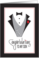 Wedding For Son from Mother, Tuxedo and Rings card