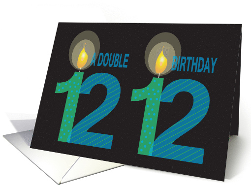 Twin 12 Year Old Birthday, Double Birthday with Candles card (1183434)