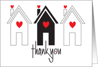 Realtor's Thank You to Client on Purchase of Home, Trio of Homes card