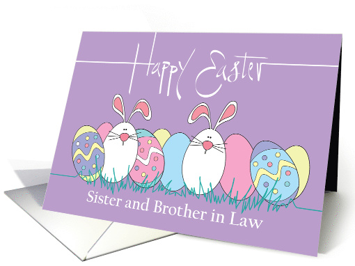Easter for Sister and Husband, Decorated Easter Eggs & Bunnies card