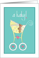 Hand Lettered New Baby, with Colorful Striped Rattle on Lavender card
