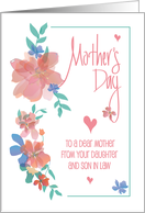 Mother's Day for Mom from Daughter & Son in Law, Pink Latte Cup card