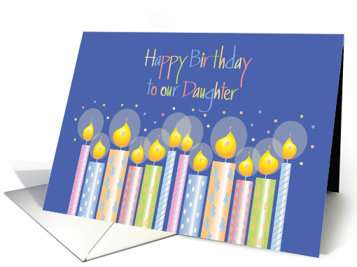 Birthday for Daughter, Candles, Confetti and Hand Lettering card