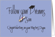 Graduation for Son for Master's Degree, with Diploma card