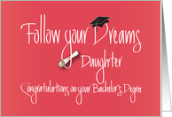 Graduation for Daughter for Bachelor's Degree, Diploma card