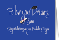 Bachelor's Graduation for Son with Diploma on Blue card