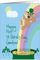 First St. Patrick's Day for Grandson, Bear on Rainbow card